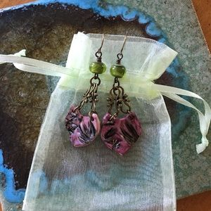 Jewelry - Handmade, hand painted shield earrings
